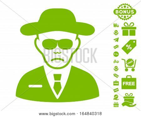 Security Agent pictograph with free bonus pictures. Vector illustration style is flat iconic symbols eco green color white background.