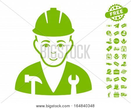 Serviceman pictograph with free bonus pictures. Vector illustration style is flat iconic symbols eco green color white background.
