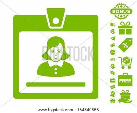Woman Badge icon with free bonus pictograph collection. Vector illustration style is flat iconic symbols eco green color white background.