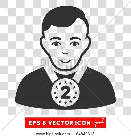 2nd Prizer Sportsman EPS vector icon. Illustration style is flat iconic gray symbol on chess transparent background.
