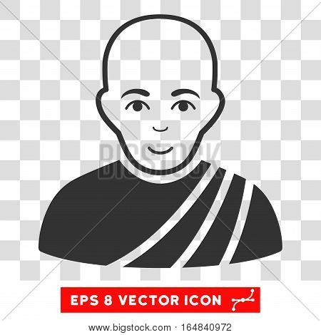 Buddhist Monk EPS vector icon. Illustration style is flat iconic gray symbol on chess transparent background.