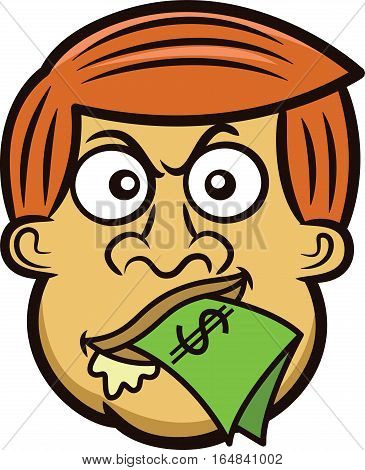 Cartoon Man's Head with Money in His Mouth