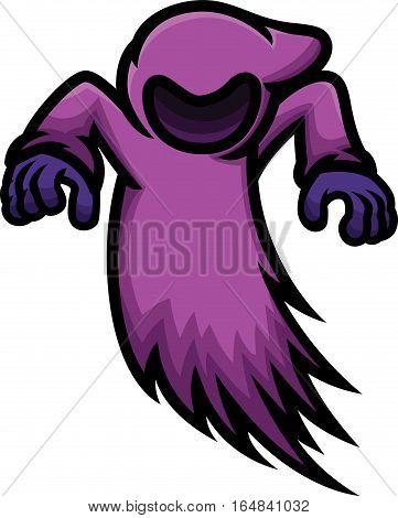 Dark Ghost Cartoon Character. Vector Illustration Isolated on White.