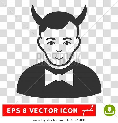 Devil EPS vector pictogram. Illustration style is flat iconic gray symbol on chess transparent background.