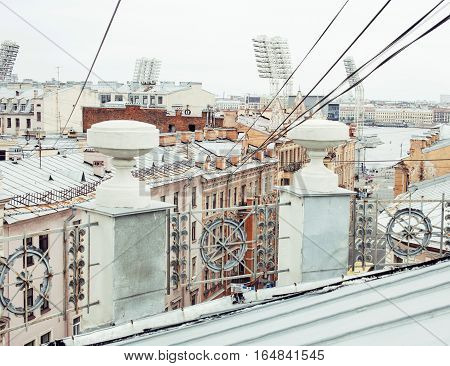roof top city scape St.Petersburg Russia post card background