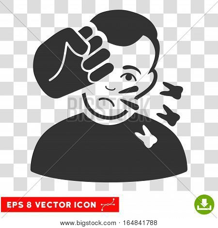 Head Strike EPS vector pictogram. Illustration style is flat iconic gray symbol on chess transparent background.