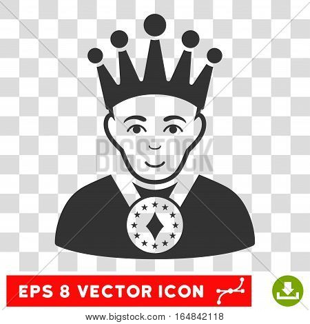 King EPS vector pictograph. Illustration style is flat iconic gray symbol on chess transparent background.