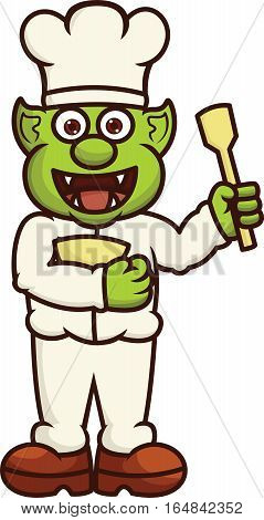 Funny Orc Chef with Bowl and Spatula Cartoon Illustration