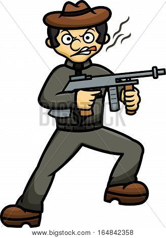 Gangster with Machine Gun Cartoon Isolated on White