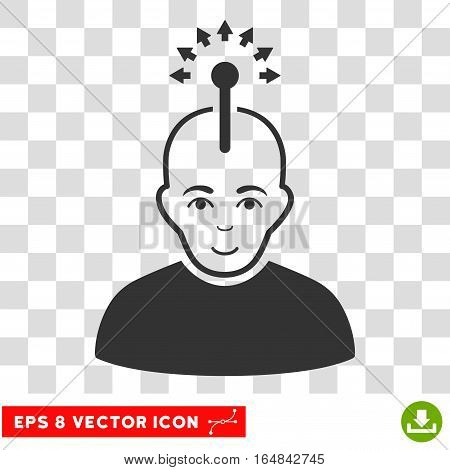 Optical Neural Interface EPS vector pictograph. Illustration style is flat iconic gray symbol on chess transparent background.