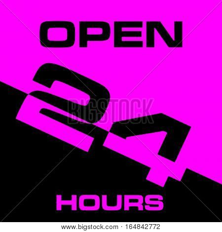 24 Hour Open Icon In Pink And Black Color Illustration