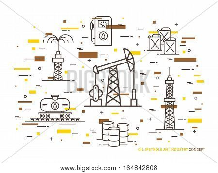 Oil production linear vector illustration with oil derrick petrolium fuel gasoline barrel petrol tower. Oil production creative graphic concept with colorful elements.