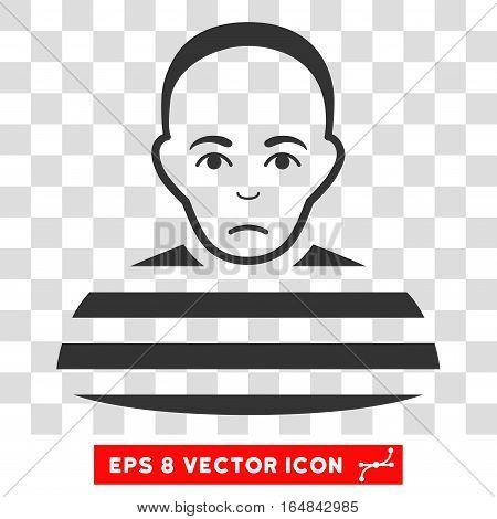 Prisoner EPS vector icon. Illustration style is flat iconic gray symbol on chess transparent background.