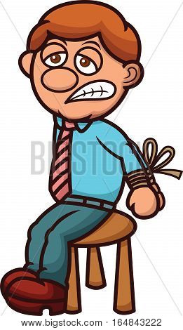 Man Hostage Cartoon Illustration. Vector Character Isolated on White.