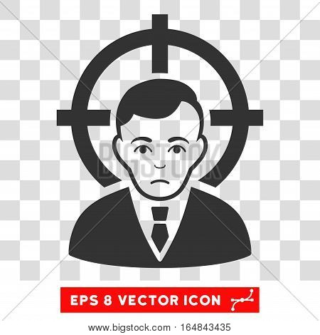 Victim Businessman EPS vector pictogram. Illustration style is flat iconic gray symbol on chess transparent background.