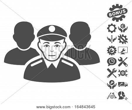 Army Team icon with bonus configuration pictures. Vector illustration style is flat iconic gray symbols on white background.