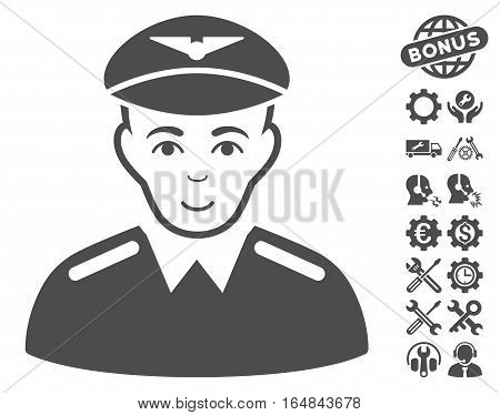 Aviator icon with bonus setup tools clip art. Vector illustration style is flat iconic gray symbols on white background.