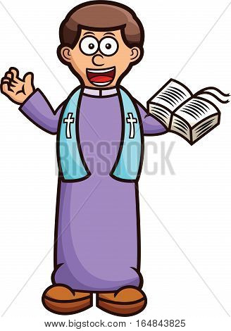 Pastor with Holy Bible Cartoon Character Isolated on White