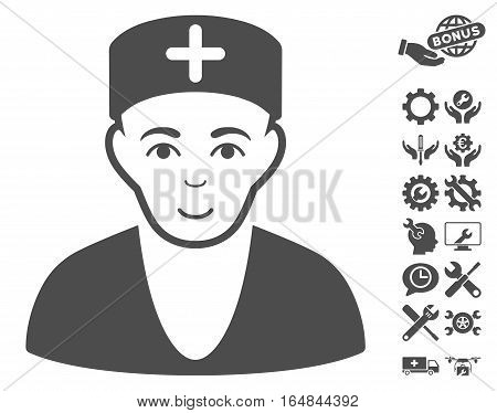 Doctor icon with bonus configuration pictograph collection. Vector illustration style is flat iconic gray symbols on white background.