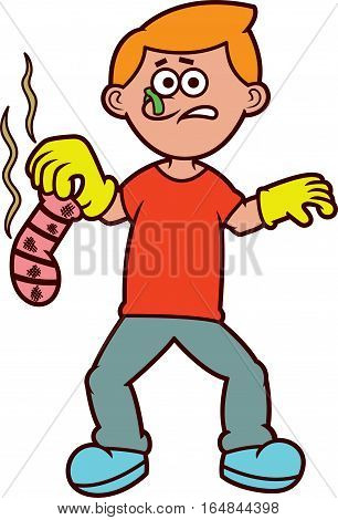 Young Man with Smelly Sock Cartoon Illustration