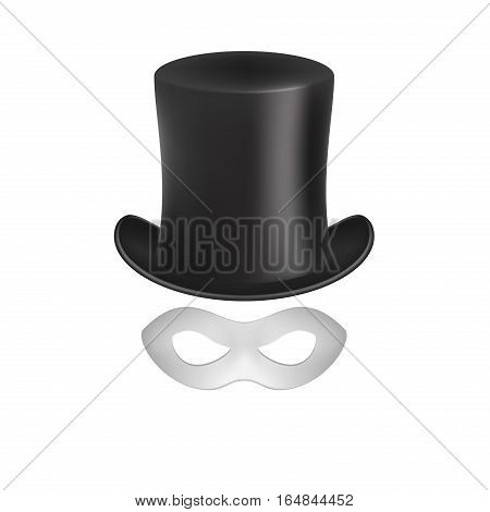 Gentleman hat and eye mask in white design on white background