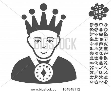 King icon with bonus setup tools clip art. Vector illustration style is flat iconic gray symbols on white background.
