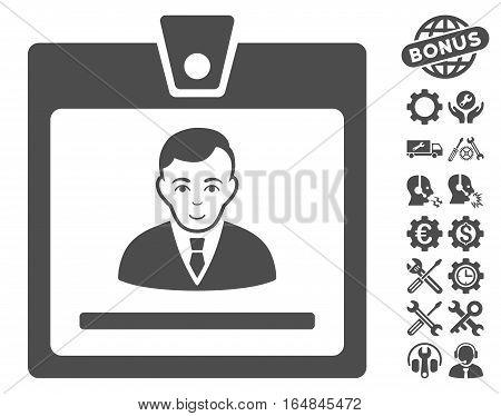Manager Badge icon with bonus configuration icon set. Vector illustration style is flat iconic gray symbols on white background.
