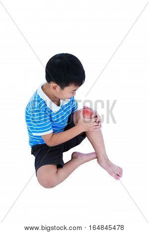 Full Body Of Child Injured At Knee. Isolated On White Background.