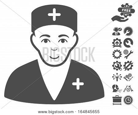 Medic pictograph with bonus setup tools symbols. Vector illustration style is flat iconic gray symbols on white background.