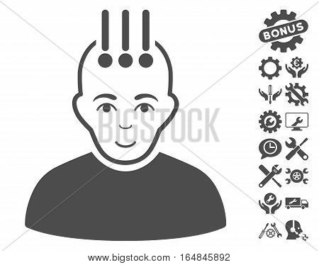Neural Interface icon with bonus setup tools pictograms. Vector illustration style is flat iconic gray symbols on white background.