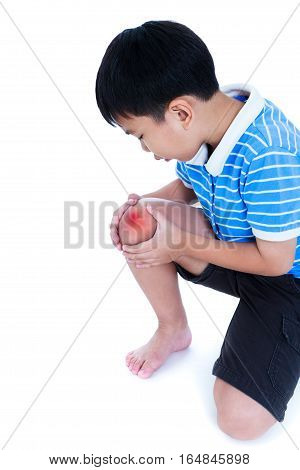 Closeup Of Child Injured At Knee. Isolated On White Background.