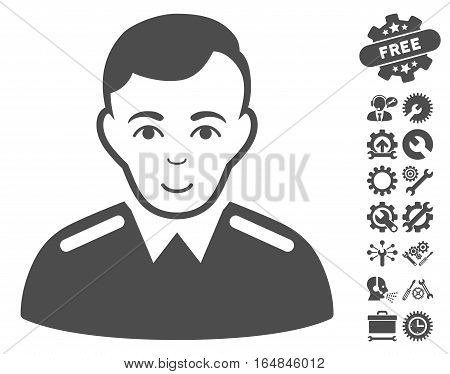 Officer pictograph with bonus setup tools pictograms. Vector illustration style is flat iconic gray symbols on white background.
