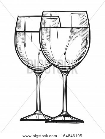 Wine glass freehand pencil drawing isolated on white background vector illustration. Wine glass sketch in vintage style. Full wine glass icon for bar, pub or restaurant menu. Hand drawn wine glass. Isolated wine glass sign.