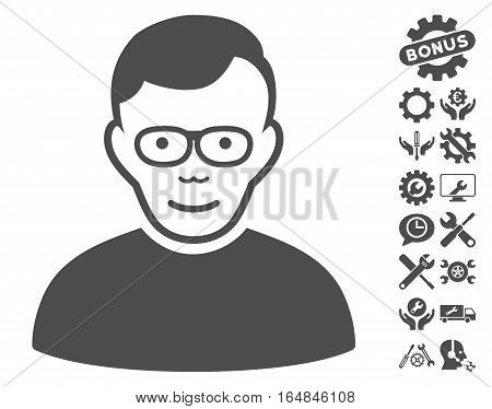 Pensioner pictograph with bonus setup tools clip art. Vector illustration style is flat iconic gray symbols on white background.