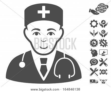 Physician pictograph with bonus service clip art. Vector illustration style is flat iconic gray symbols on white background.