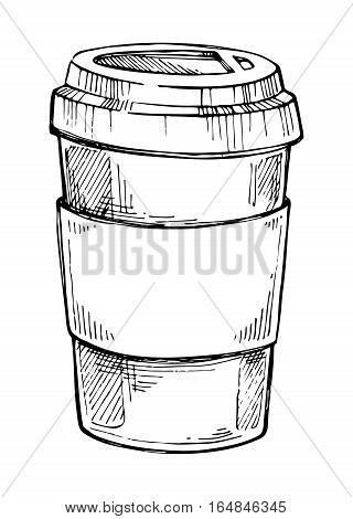 Coffee cup freehand pencil drawing isolated on white background vector illustration. Cafe or restaurant menu design. Coffee time concept, hot drink, coffee cup on saucer sketch in vintage style. Vector coffee cup. Coffee cup icon.