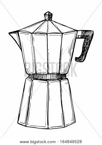 Traditional coffee maker freehand pencil drawing isolated on white background vector illustration. Cafe or restaurant menu design. Retro manual coffee maker, espresso pot sketch in vintage style. Hand drawn coffee maker.
