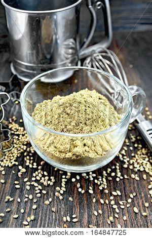 Flour Hemp In Glass Cup With Mixer On Board