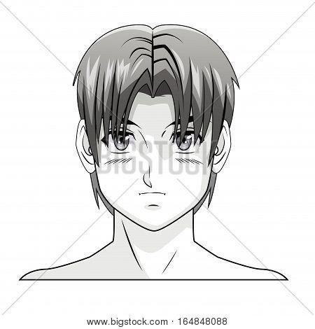 face boy anime manga comic hair style vector illustration eps 10