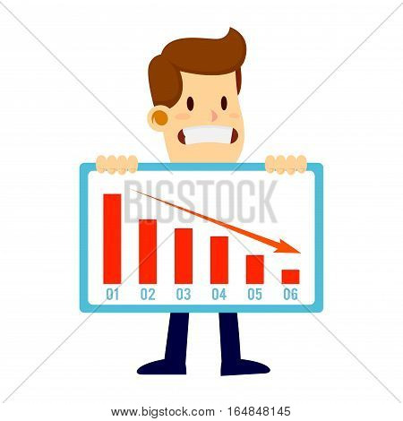Businessman holding a declining failed sales chart with a sad face
