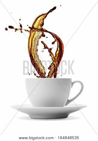 cup of splashing black coffee isolated on white