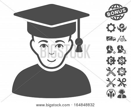 Professor icon with bonus service design elements. Vector illustration style is flat iconic gray symbols on white background.