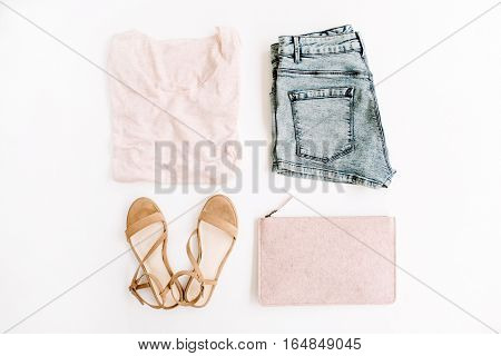 Summer trendy woman clothes and accessories. Flat lay top view