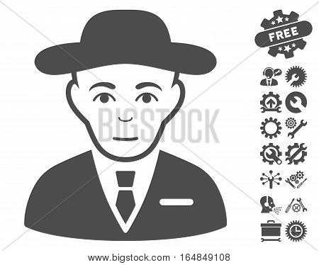 Secret Service Agent icon with bonus settings clip art. Vector illustration style is flat iconic gray symbols on white background.