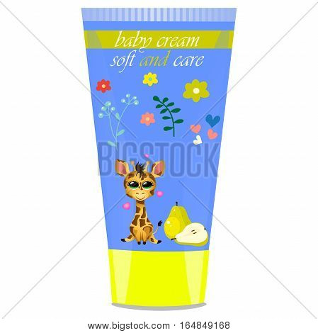 High quality original trendy vector Baby cream tube with kids design and giraffe, pear illustration