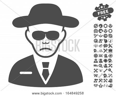 Security Agent pictograph with bonus configuration clip art. Vector illustration style is flat iconic gray symbols on white background.