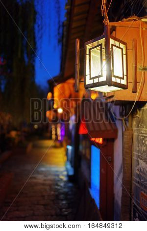 Night View Of Traditional Chinese Street Lamp. Lijiang, China