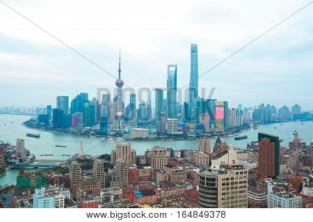Aerial Photography Bird View At Shanghai Skyline