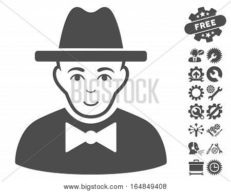 Spy pictograph with bonus configuration pictograph collection. Vector illustration style is flat iconic gray symbols on white background.