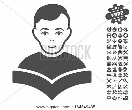 Student pictograph with bonus setup tools icon set. Vector illustration style is flat iconic gray symbols on white background.
